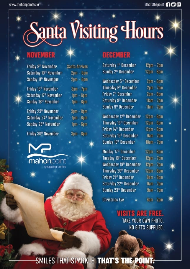 How Many Hours Until Christmas.Santa Is Free At Mahon Point This Year Mahon Point